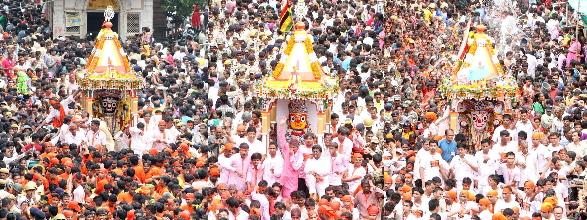 141st Jagannath Rath Yatra begins in Ahmedabad amid unprecedented security, CM,Dy CM use golden brooms for Pahind ritual