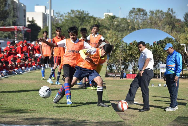 Ex-Indian Football Captain Tarun Roy trains budding players at RIL-SAG Camp in Jamnagar